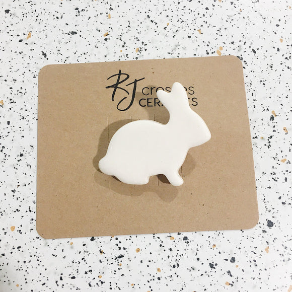 RJ Crosses Brooch - Ceramic Bunnies