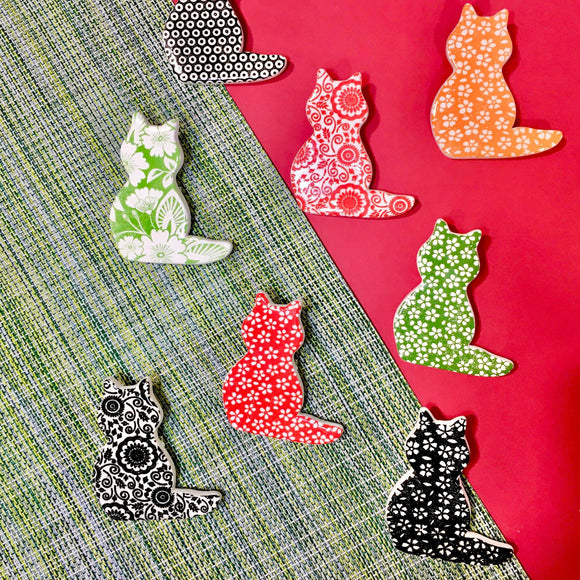RJ Crosses Brooch - Multi Coloured Cats