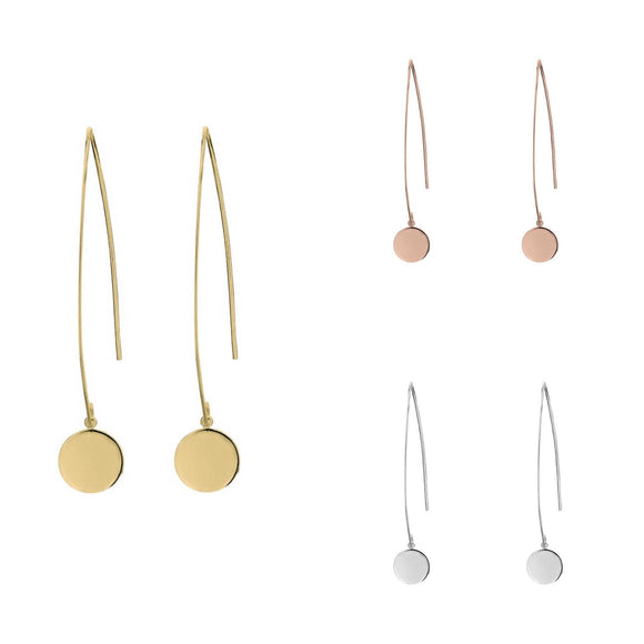 Simple sterling silver dangle earrings with open hook and circle disc detail in gold and rose gold have you met charlie adelaide australia