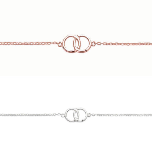 a simple fine sterling silver friendship bracelet with two entwining circles linked in the middle from have you met charlie a gift shop in adelaide south australia