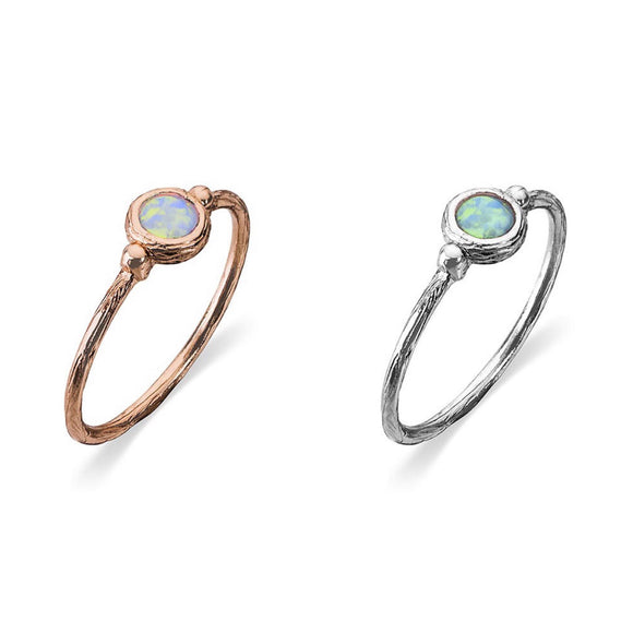 Sterling Silver stacker Ring with textured, beaten finish and gorgeous blue-green opalite setting, Also available in Rose Gold plated Sterling Silver from unique gift shop have you met charlie in adelaide south australia