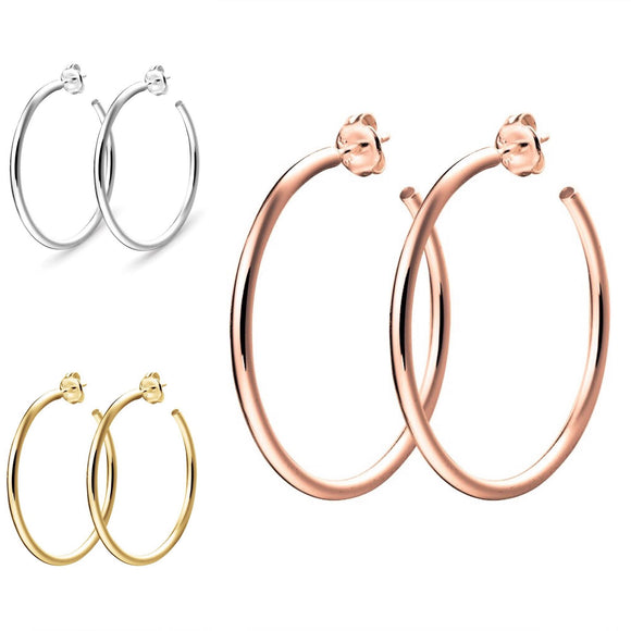Simple medium sized hoop earrings in sterling silver gold and rose gold with open end from have you met charlie in adelaide australia