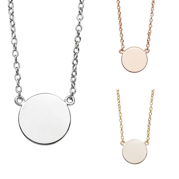 A simple sterling silver necklace with flat disc charm in rose gold and gold have you met charlie gift store adelaide australia