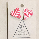 RJ Crosses Earrings - Patterned Heart Studs from have you met charlie a gift shop with Australian unique handmade gifts in Adelaide South Australia