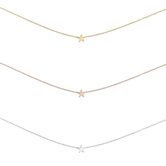 a simple sterling silver gold and rose gold choker short necklace with tiny star pendant from gift shop have you met charlie in adelaide australia