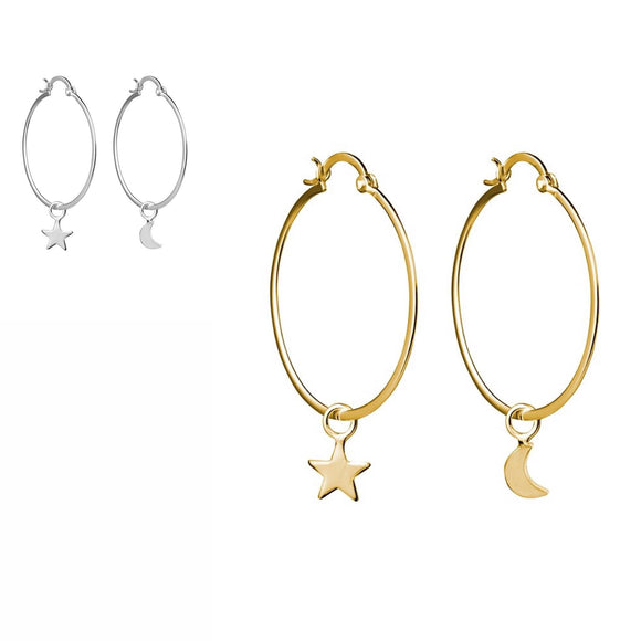 simple gold and silver hoop earrings with star and moon dangle charm in gold and silver have you met charlie adelaide south australia gift shop unique