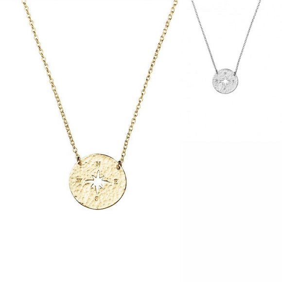 a sterling silver or gold necklace with compass pendant with star cut out and N S E W engraving have you met charlie adelaide gift shop australia