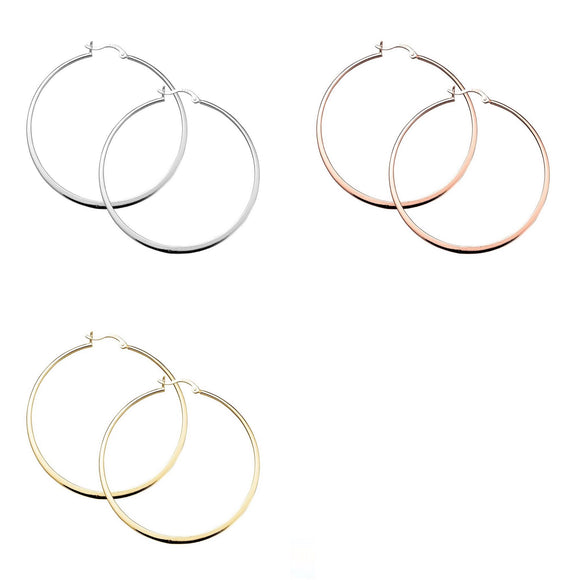 Sterling Silver Earrings - Flat Edge Hoop