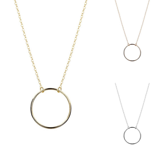 a simple sterling silver rose gold or gold necklace with 2cm open circle pendant from have you met charlie in adelaide south australia gift shop