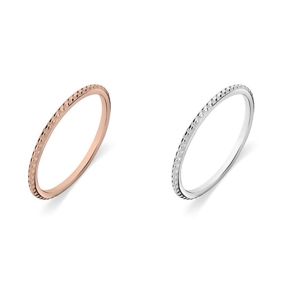 Sterling Silver stacker ring with fine ball detail. Available in Sterling Silver as well as Rose Gold plated Sterling Silver from adelaide gift shop have you met charlie australia