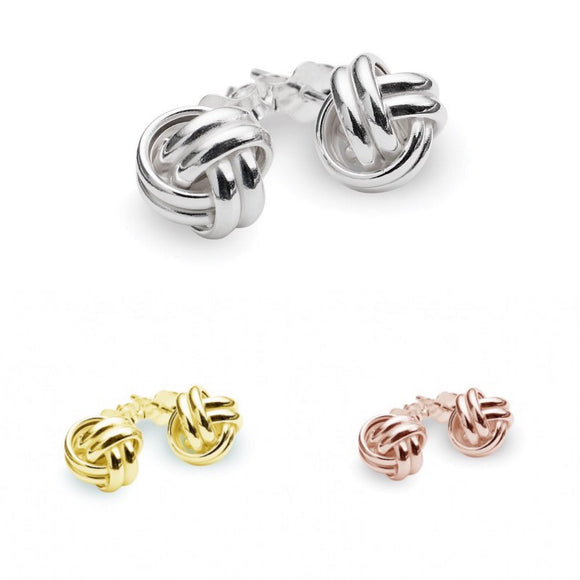 Sterling Silver studs in large, intertwined knot detail. Also available in Rose Gold and Gold plated Sterling Silver from unique gift shop have you met charlie in adelaide south australia
