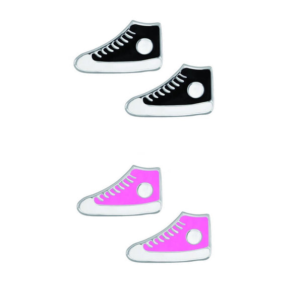sterling silver studs in converse design available in pink and black from unique gift shop have you met charlie in adelaide south australia