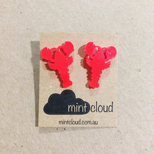 various colourful lobster stud earrings by mintcloud from have you met charlie a gift shop with unique handmade australian gifts in adelaide south australia