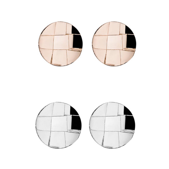 Simple Sterling Silver studs with hammered grid detail. Also available in Rose Gold plated Sterling Silver from unique gift shop have you met charlie in adelaide south australia