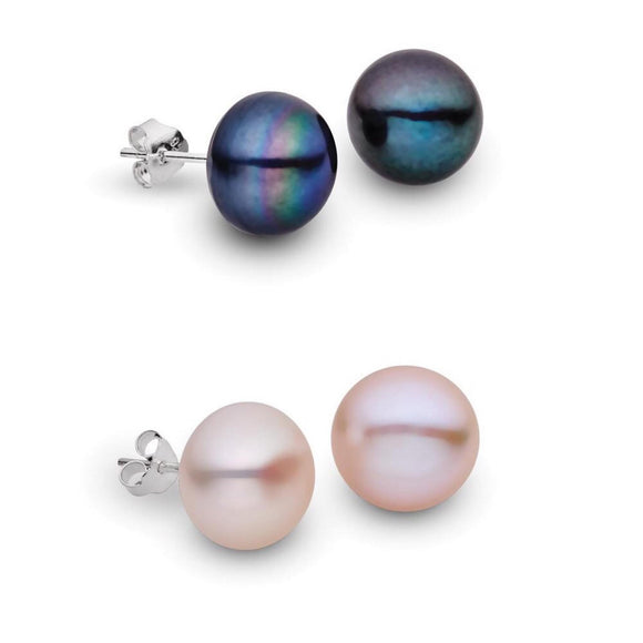 simple sterling silver stud earrings with white or black pearl setting from unique australian gift store have you met charlie in adelaide south australia