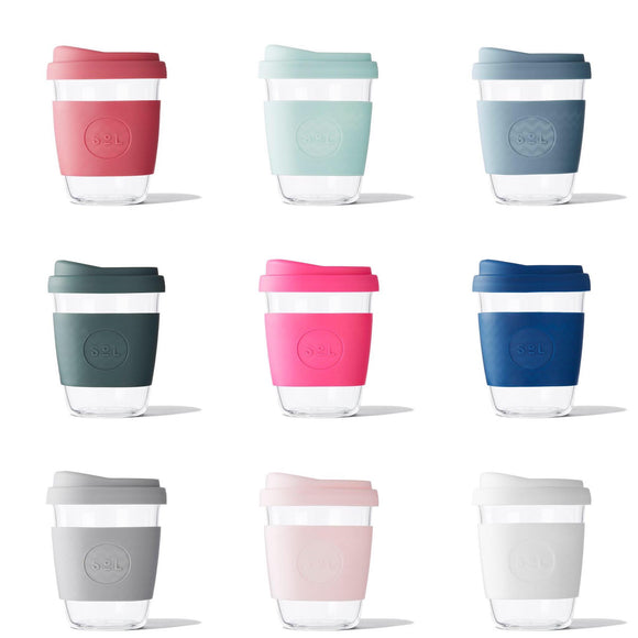 Sol Cups various glass with coloured silicone sleeve and lip reusable cups from unique australian gift store have you met charlie in adelaide south australia