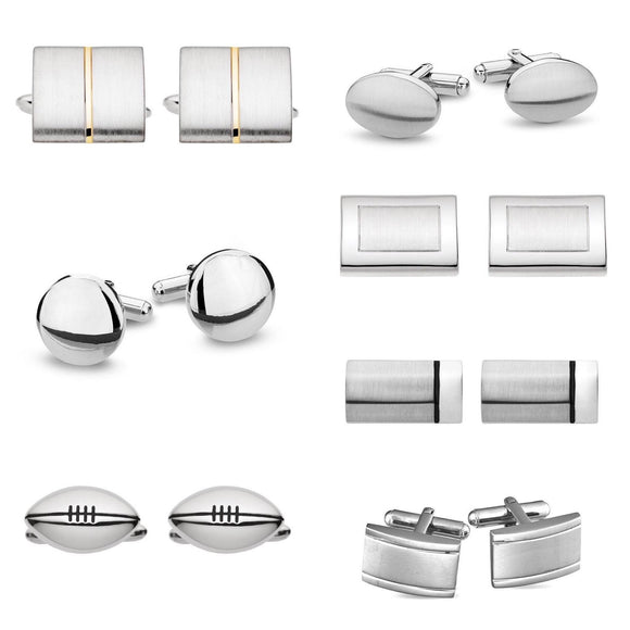 various stainless steel mens cufflinks from unique gift shop have you met charlie in adelaide south australia