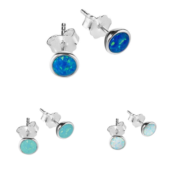 simple sterling silver studs with blue, green or white opalite opal setting  from australian gift shop have you met charlie in adelaide south australia