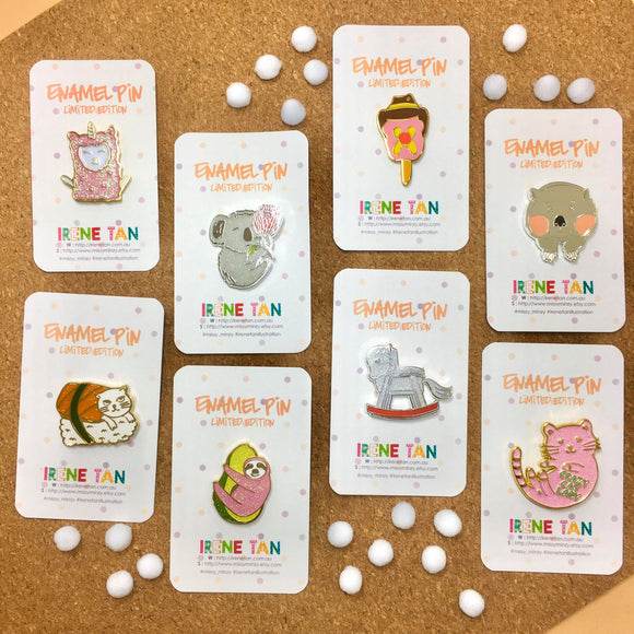various miss minzy enamel pins from unique handmade australian gift shop have you met charlie in adelaide south australia