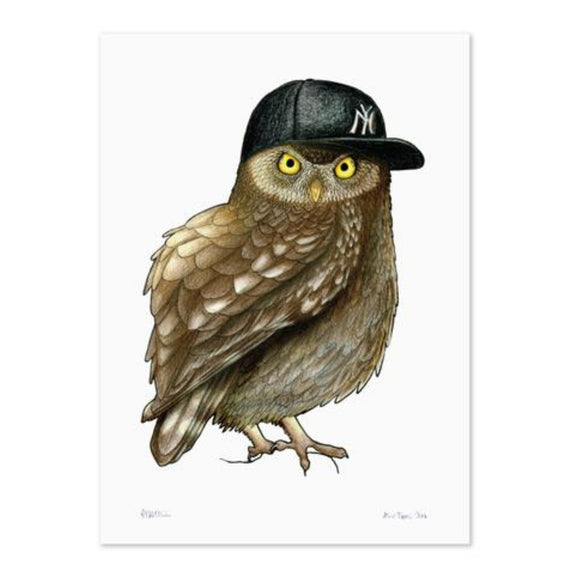 Birds In Hats Print - Owl in NY Hat A4 from have you met charlie a gift shop with Australian unique handmade gifts in Adelaide South Australia