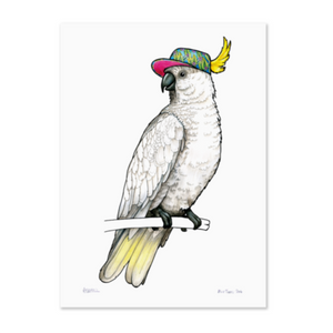 Birds In Hats Print - Sulphur Crested Cockatoo in a Tropical Visor A4 from have you met charlie a gift shop with Australian unique handmade gifts in Adelaide South Australia