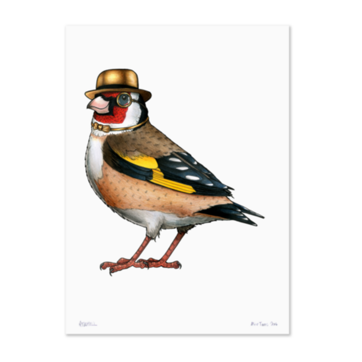 Birds In Hats Print - Goldfinch in a Gold Bowler Hat & Bow Tie A4
