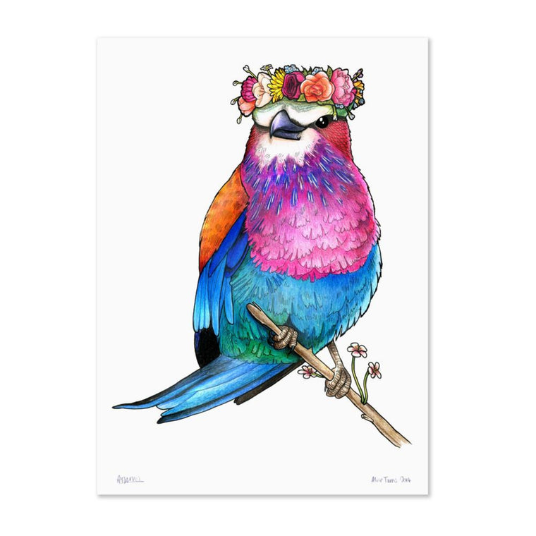 Birds In Hats Print - Lilac Breasted Roller in a Floral Head Crown