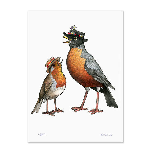 Birds In Hats Print - Robin Couple (Mary Poppins)