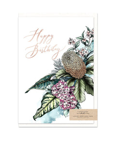 happy birthday card with gold foil and banksia flower bouquet illustration from unique gift shop have you met charlie in adelaide south australia