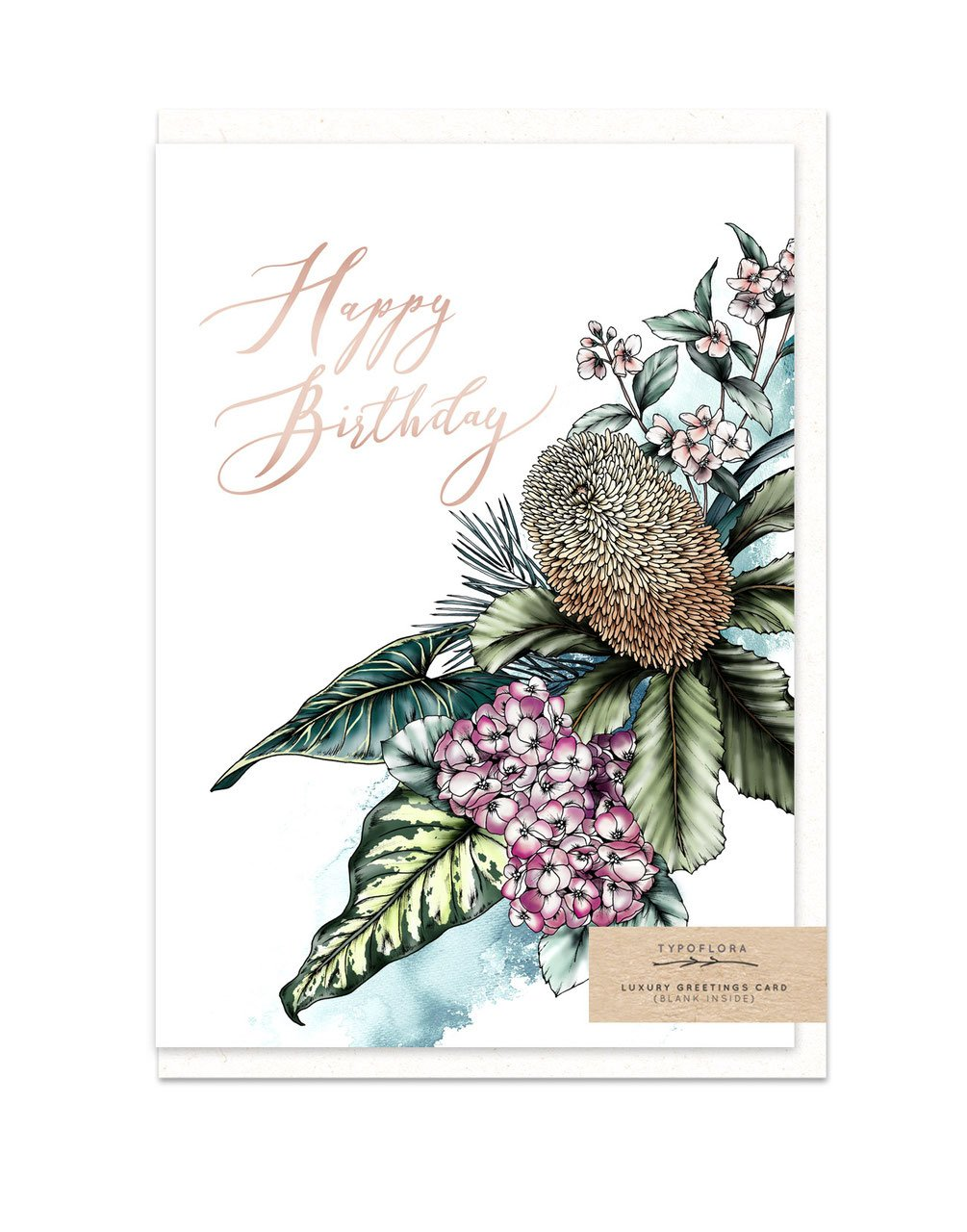 Typoflora Card - Banksia Birthday