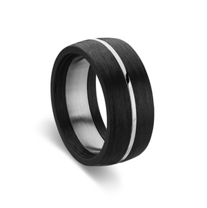 Stainless Steel Men's Ring - Black with Silver Detail