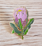 pink protea enamel pin by patch press from have you met charlie a gift shop with Australian unique handmade gifts in Adelaide South Australia