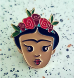 frida kahlo enamel pin by patch press from have you met charlie a gift shop with Australian unique handmade gifts in Adelaide South Australia