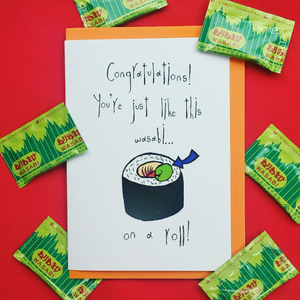 congratulations on a roll sushi funny greeting card by orange forest from have you met charlie a gift shop with unique australian handmade gifts in adelaide south australia