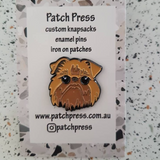 brown dog face enamel pin by patch press from have you met charlie a gift shop with Australian unique handmade gifts in Adelaide South Australia