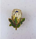 white protea enamel pin by patch press from have you met charlie a gift shop with Australian unique handmade gifts in Adelaide South Australia