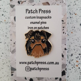 black dog face enamel pin by patch press from have you met charlie a gift shop with Australian unique handmade gifts in Adelaide South Australia