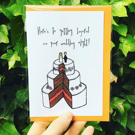 wedding layered cake funny greeting card by orange forest from have you met charlie a gift shop with unique australian handmade gifts in adelaide south australia