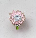 baby pink protea enamel pin by patch press from have you met charlie a gift shop with Australian unique handmade gifts in Adelaide South Australia