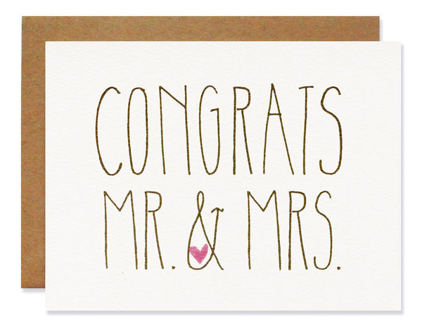 Hartland Brooklyn Card - Congrats Mr & Mrs