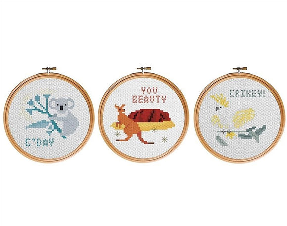 IS Gifts- The Australian Collection Cross Stitch Kit Native Animals from Have You Met Charlie? a gift shop with unique Australian handmade gifts in Adelaide, South Australia