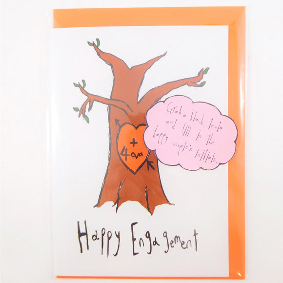 4 eva carved tree engagement funny greeting card by orange forest from have you met charlie a gift shop with unique australian handmade gifts in adelaide south australia