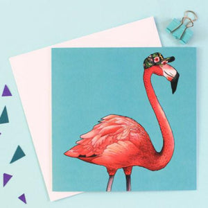 Birds in Hats Square Card - Flamingo
