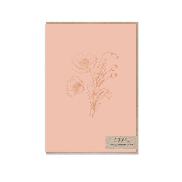 Gorgeous blush greeting card with rose gold foil poppy illustration from unique gift shop have you met charlie in adelaide south australia
