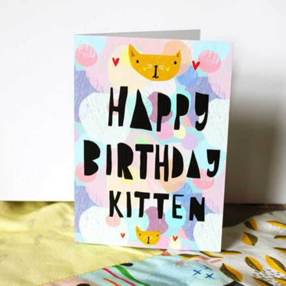Nicola Rowlands Card - Happy Birthday Kitten from have you met charlie a gift shop with Australian unique handmade gifts in Adelaide South Australia