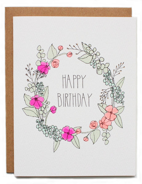 Hartland Brooklyn Card - Happy Birthday Wreath