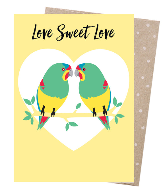 Earth Greetings Valentine's Card -  Swift Parrot Love from have you met charlie a gift shop in Adelaide south Australian with unique handmade gifts