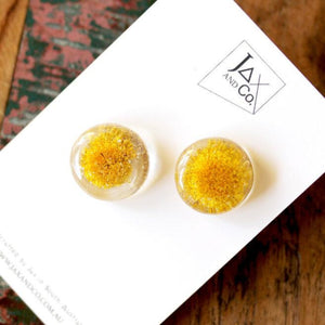 Resin stud earrings with encased native flowers handmade by jax and co from australian gift store have you met charlie in adelaide south australia