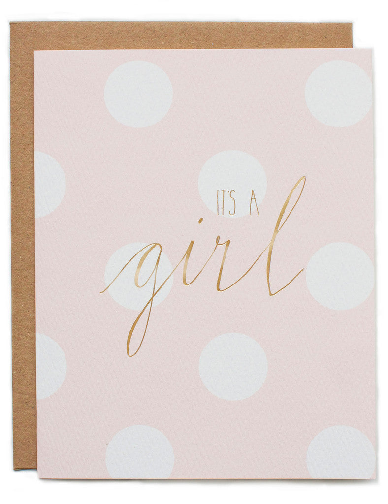 Hartland Brooklyn Card - It's a Girl Letterpress