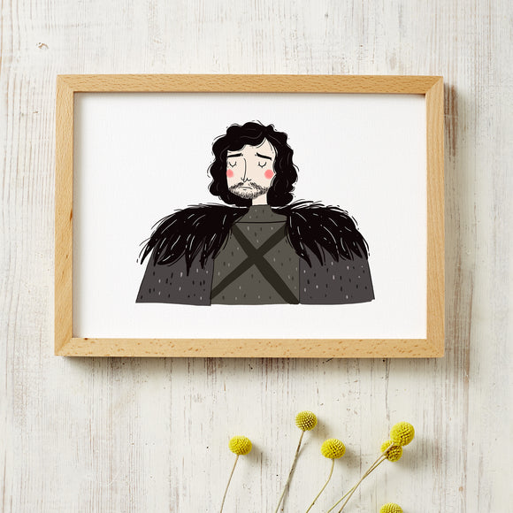 jon snow art print by viktorija illustration from have you met charlie a gift shop with unique handmade australian gifts in adelaide south australia
